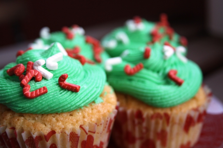 Cupcakes de vainilla decorados de Navidad 2